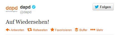 """dapd Tweet """"Auf wiedersehen!"""""""