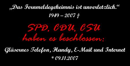 Todestag: Bundestag verabschiedet Gesetz zur Vorratsdatenspeicherung und TK-Überwachung