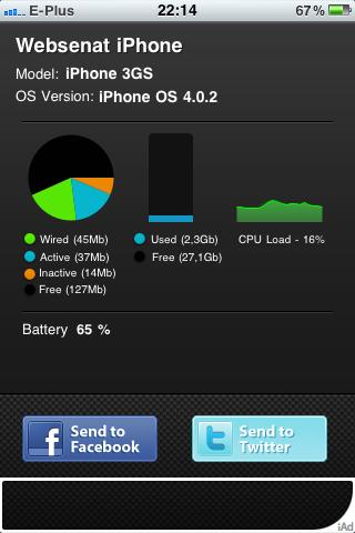 Speicher- und CPU-Auslastung vom iPhone 3GS