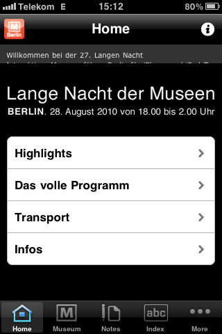 "Screenshot ""Lange Nacht der Museen"" App"