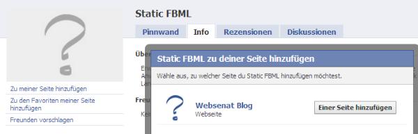 Static FBML Anwendung installieren