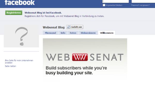 Landing Page bei Facebook