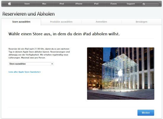 Apple iPad2 reservieren und morgen abholen