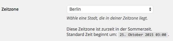 WordPress Zeitzone